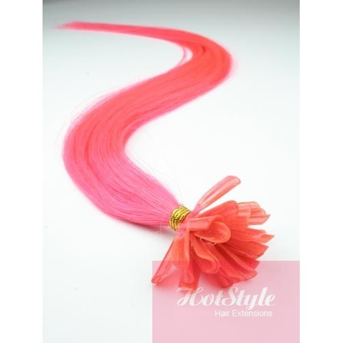 24 60cm nail tip u tip human hair pre bonded extensions pink pmusecretfo Image collections