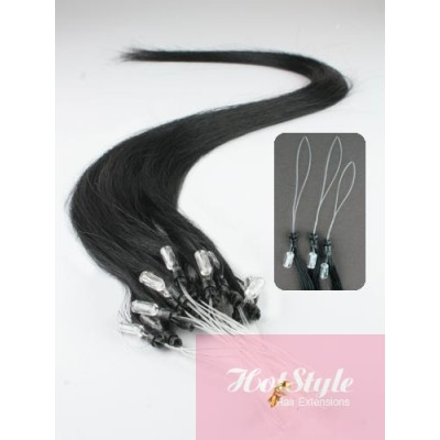 "15"" (40cm) Micro ring human hair extensions - black"