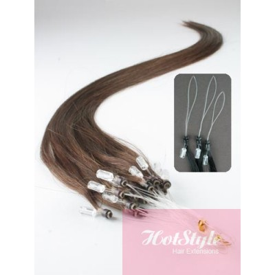 "15"" (40cm) Micro ring human hair extensions - medium brown"