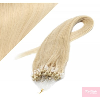 """20"""" (50cm) Micro ring human hair extensions - the lightest blonde"""