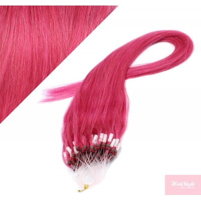 """20"""" (50cm) Micro ring human hair extensions - pink"""