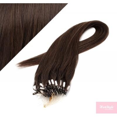 "24"" (60cm) Micro ring human hair extensions - dark brown"