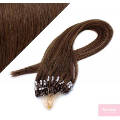 "24"" (60cm) Micro ring human hair extensions - medium brown"
