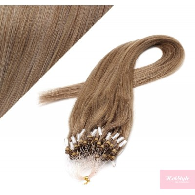 "24"" (60cm) Micro ring human hair extensions - light brown"