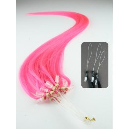 "24"" (60cm) Micro ring human hair extensions – pink"