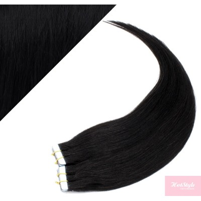 """20"""" (50cm) Tape Hair / Tape IN human REMY hair - black"""