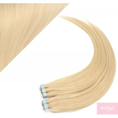 """20"""" (50cm) Tape Hair / Tape IN human REMY hair - the lightest blonde"""