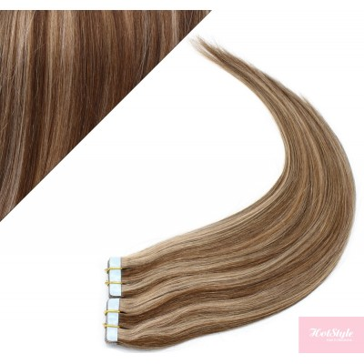 "20"" (50cm) Tape Hair / Tape IN human REMY hair - dark brown/blonde"