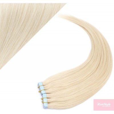 "24"" (60cm) Tape Hair / Tape IN human REMY hair - platinum blonde"