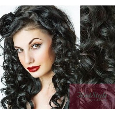 Clip in wavy human hair remy black 20 50cm 20 50cm clip in wavy human remy hair black pmusecretfo Image collections
