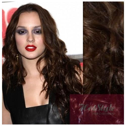 Clip In Wavy Human Hair Remy Dark Brown 20 50cm