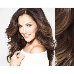"20"" (50cm) Clip in wavy human REMY hair - medium brown"