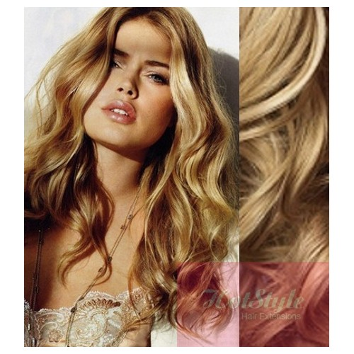 Clip In Wavy Human Hair Remy Natural Blonde 20 50cm
