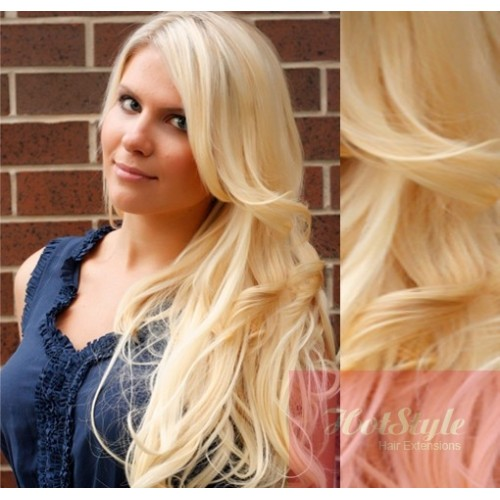 Clip In Wavy Human Hair Remy The Lightest Blonde 20 50cm