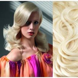 "20"" (50cm) Clip in wavy human REMY hair - platinum blonde"
