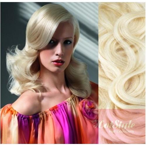 Clip In Wavy Human Hair Remy Platinum Blonde 20 50cm