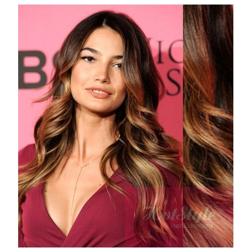 Clip In Wavy Human Hair Remy Dark Brownblonde 20 50cm