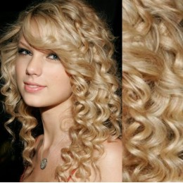 """20"""" (50cm) Clip in curly human REMY hair - the lightest blonde"""