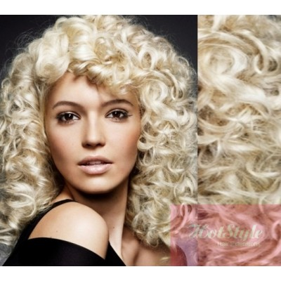 Clip in hair extesions 20 50cm curly 20 50cm clip in curly human remy hair platinum blonde pmusecretfo Choice Image