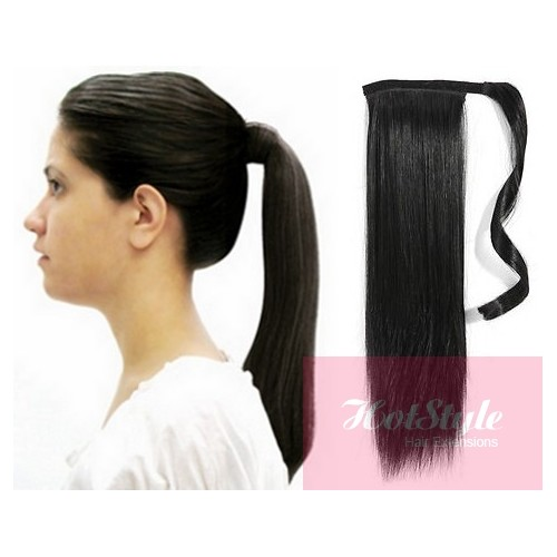 Clip In Ponytail Wrap Braid Hair Extension 24 Straight Black