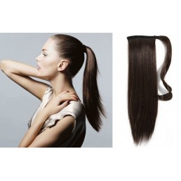 "Clip in ponytail wrap / braid hair extension 24"" straight - dark brown"