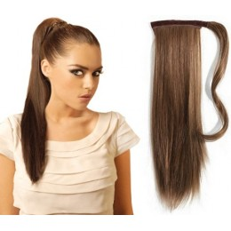 "Clip in ponytail wrap / braid hair extension 24"" straight - medium brown"