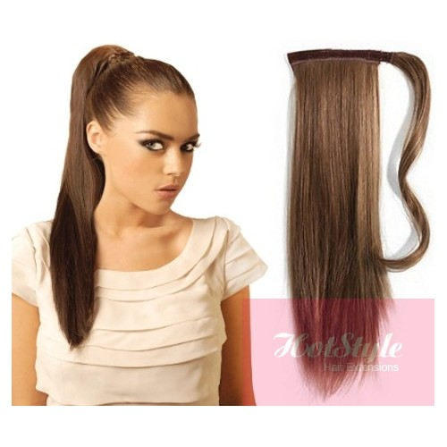 Clip In Ponytail Wrap Braid Hair Extension 24 Straight Medium Brown