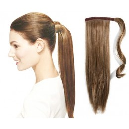 """Clip in ponytail wrap / braid hair extension 24"""" straight - light brown"""
