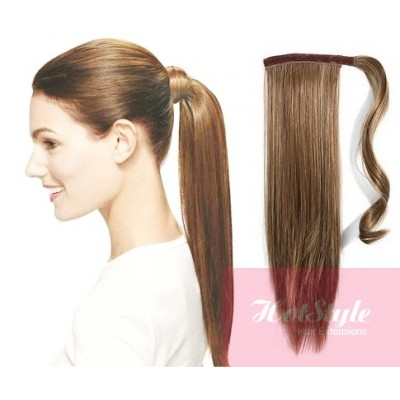 Clip in ponytail wrap braid hair extension 24 straight light brown solutioingenieria Image collections