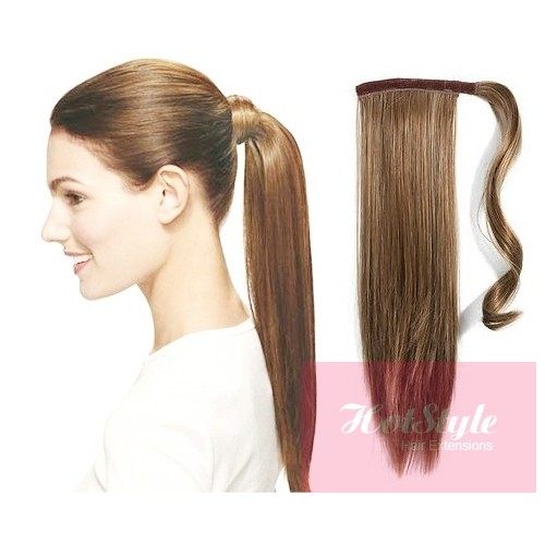 Clip In Ponytail Wrap Braid Hair Extension 24 Straight Light Brown