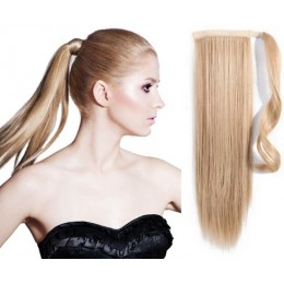 """Clip in ponytail wrap / braid hair extension 24"""" straight - natural blonde"""