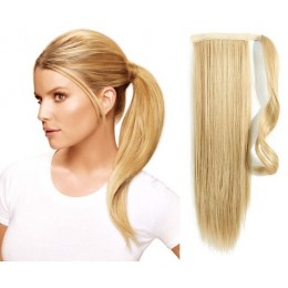 """Clip in ponytail wrap / braid hair extension 24"""" straight - the lightest blonde"""