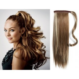 """Clip in ponytail wrap / braid hair extension 24"""" straight - dark brown / blonde"""
