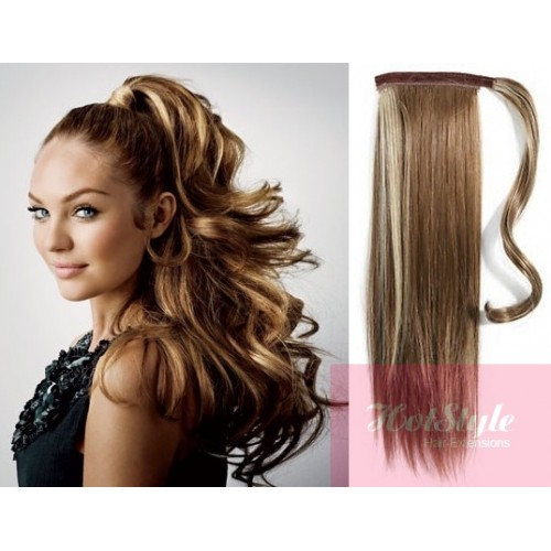 clip in ponytail wrap braid hair extension 24 straight dark brown blonde. Black Bedroom Furniture Sets. Home Design Ideas