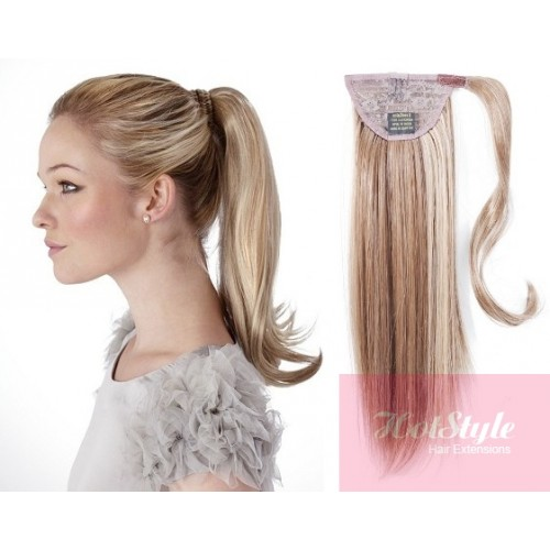Clip In Ponytail Wrap Braid Hair Extension 24 Straight Platinum