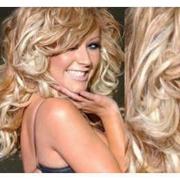 "20"" (50cm) Clip in curly human REMY hair - platinum / light brown"