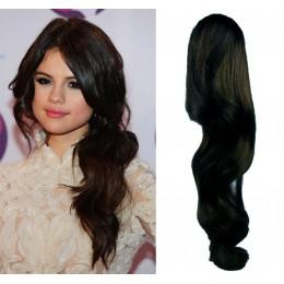 "Clip in ponytail wrap / braid hair extension 24"" wavy – black"