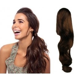 "Clip in ponytail wrap / braid hair extension 24"" wavy – dark brown"