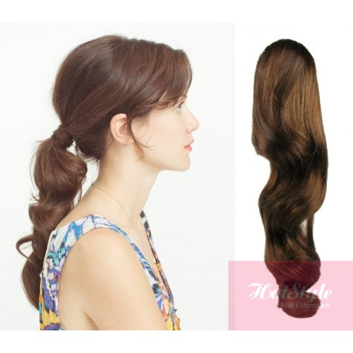 Clip In Ponytail Wrap Braid Hair Extension 24 Wavy Medium Brown