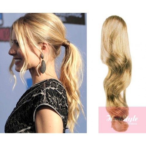 Clip In Ponytail Wrap Braid Hair Extension 24 Wavy Natural Blonde