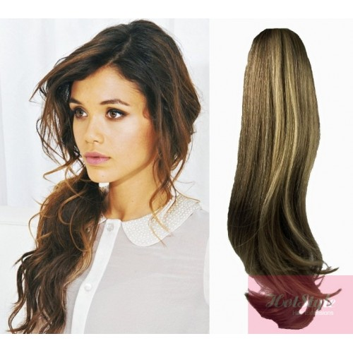 "Clip in ponytail wrap / braid hair extension 24"" wavy"