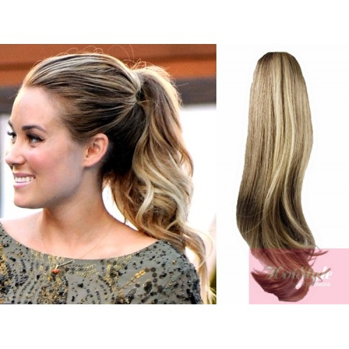 Clip In Ponytail Wrap Braid Hair Extension 24 Wavy Mixed Blonde
