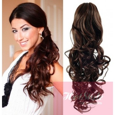 Clip in ponytail wrap braid hair extension 24 curly dark brown clip in ponytail wrap braid hair extension 24 curly dark brown pmusecretfo Choice Image