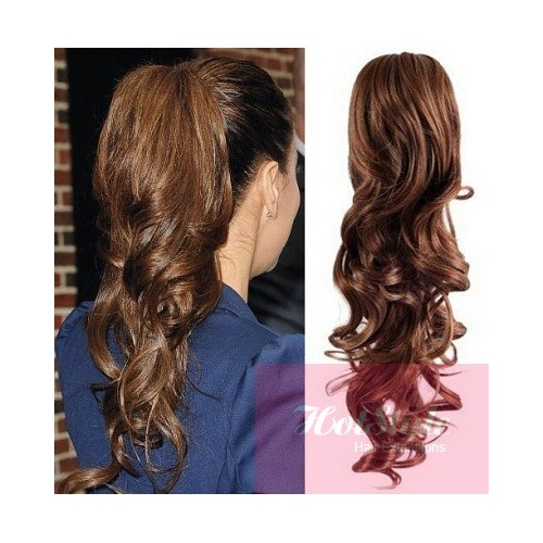 Clip in ponytail wrap braid hair extension 24 curly medium brown pmusecretfo Images