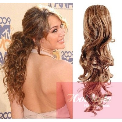 Excellent Clip In Ponytail Wrap Braid Hair Extension 24Quot Curly Light Brown Short Hairstyles Gunalazisus