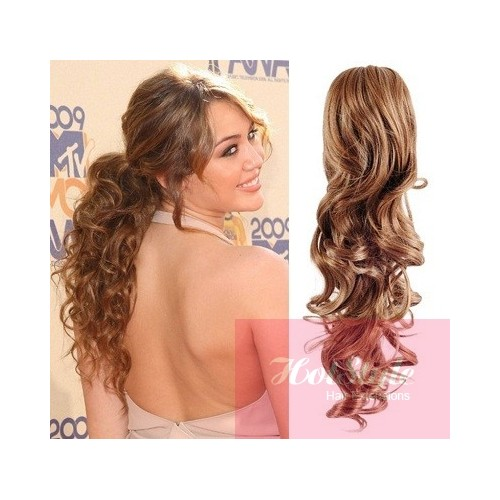 Clip In Ponytail Wrap Braid Hair Extension 24 Curly Light Brown