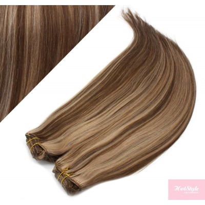 "20"" (50cm) Deluxe clip in human REMY hair - dark brown / blonde"