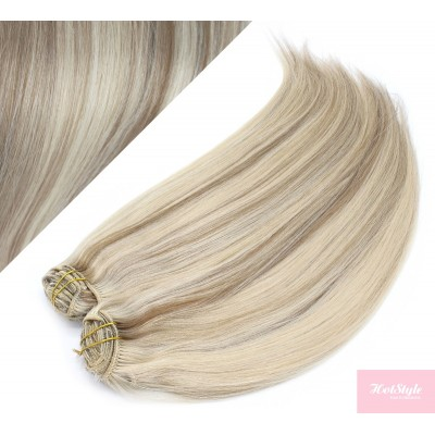 """28"""" (70cm) Deluxe clip in human REMY hair - platinum / light brown"""