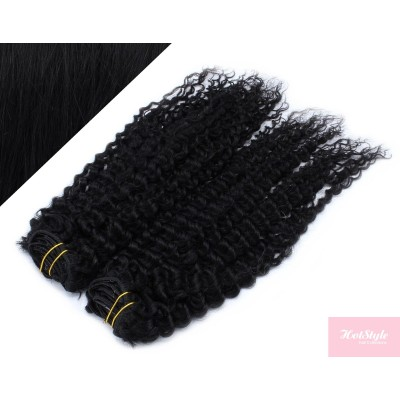 """20"""" (50cm) Deluxe curly clip in human REMY hair - black"""