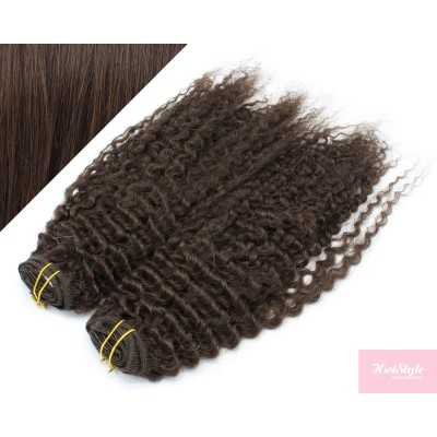 """20"""" (50cm) Deluxe curly clip in human REMY hair - dark brown"""